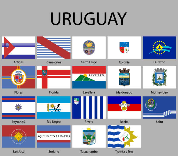 all Flags of departments of Uruguay all Flags of departments of Uruguay. Vector illustraion canelones stock illustrations