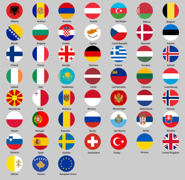 all flags of Europe Round all flags of Europe lithuania stock illustrations