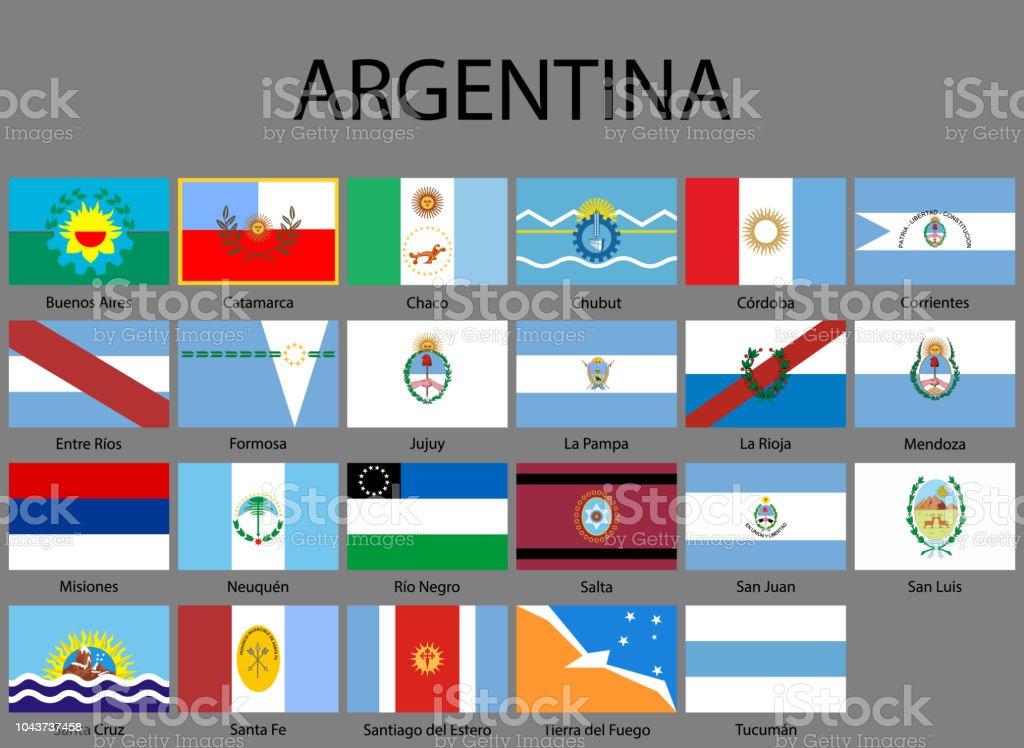 Alle Flaggen der Provinzen Argentiniens – Vektorgrafik