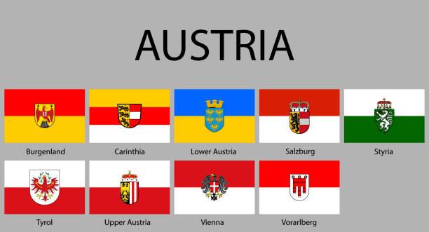 bildbanksillustrationer, clip art samt tecknat material och ikoner med alla flaggor av regioner österrike - salzburg