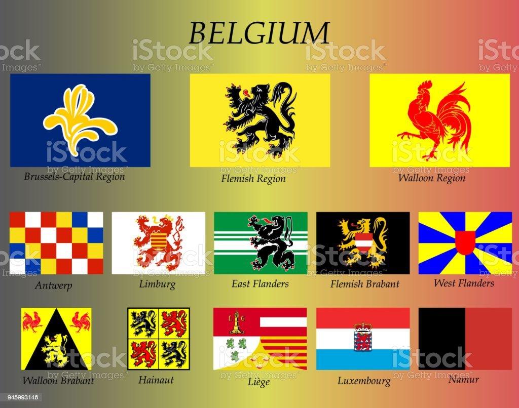 Alle Flaggen Der Belgischen Staaten Stock Vektor Art und mehr Bilder ...