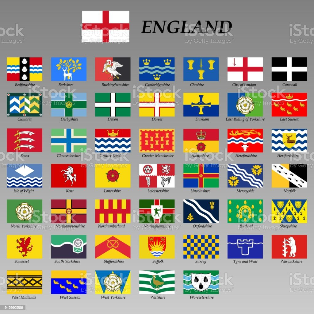 all flags of the Ceremonial counties of England vector art illustration