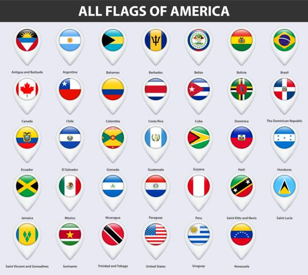 All flags of the countries of America. Pin map pointer glossy style. All flags of the countries of America. Pin map pointer glossy style. central america stock illustrations