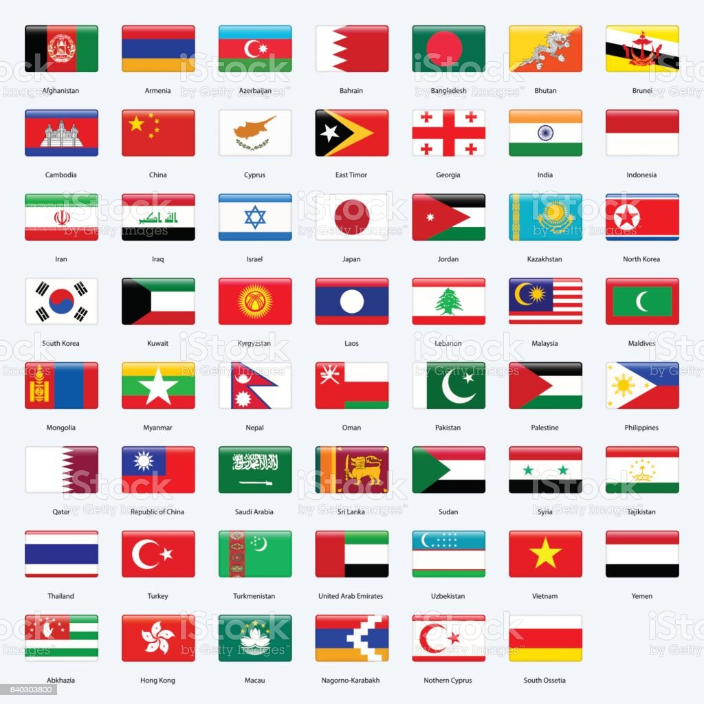 All flags of the countries of the Asia. Rectangle glossy style. vector art illustration