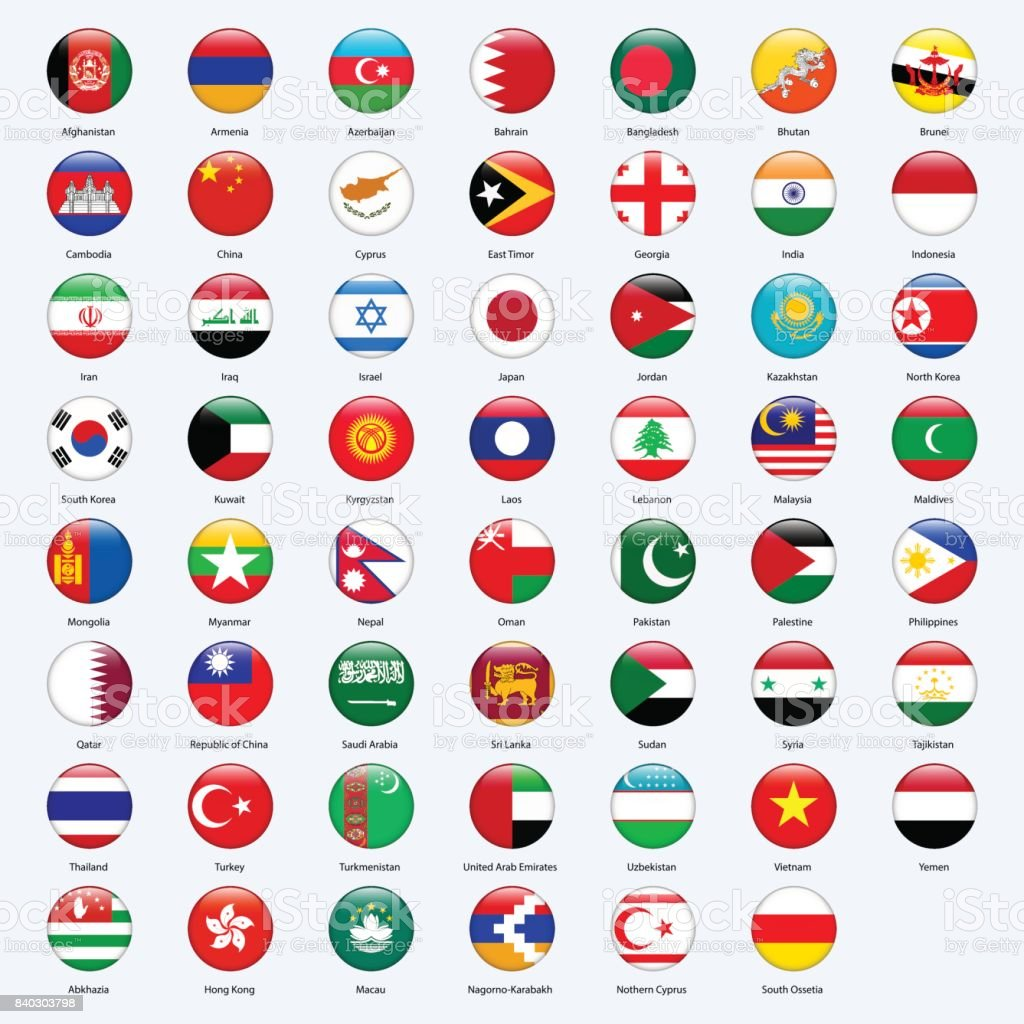 All flags of the countries of the Asia. Round glossy style. vector art illustration