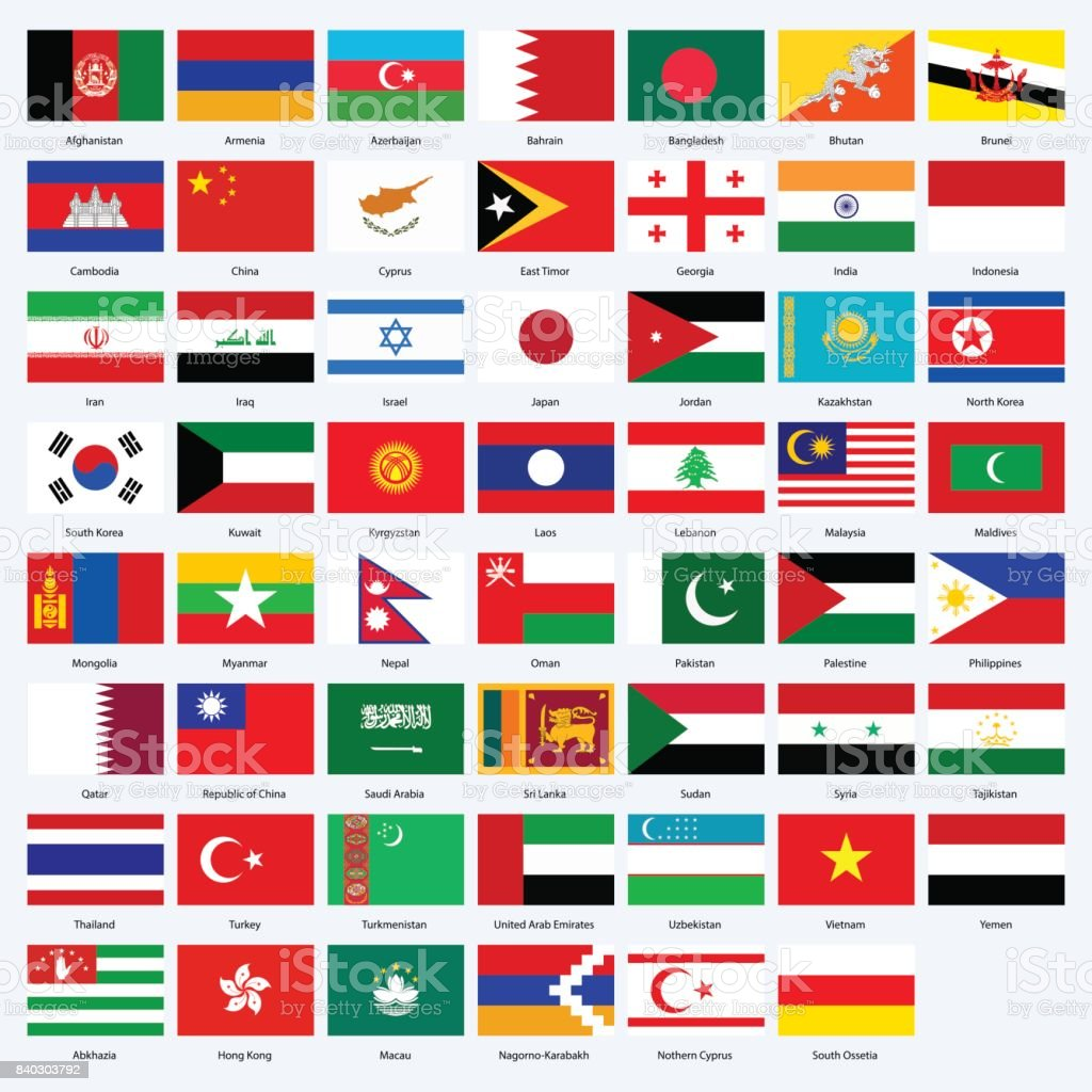 All flags of the countries of the Asia. vector art illustration