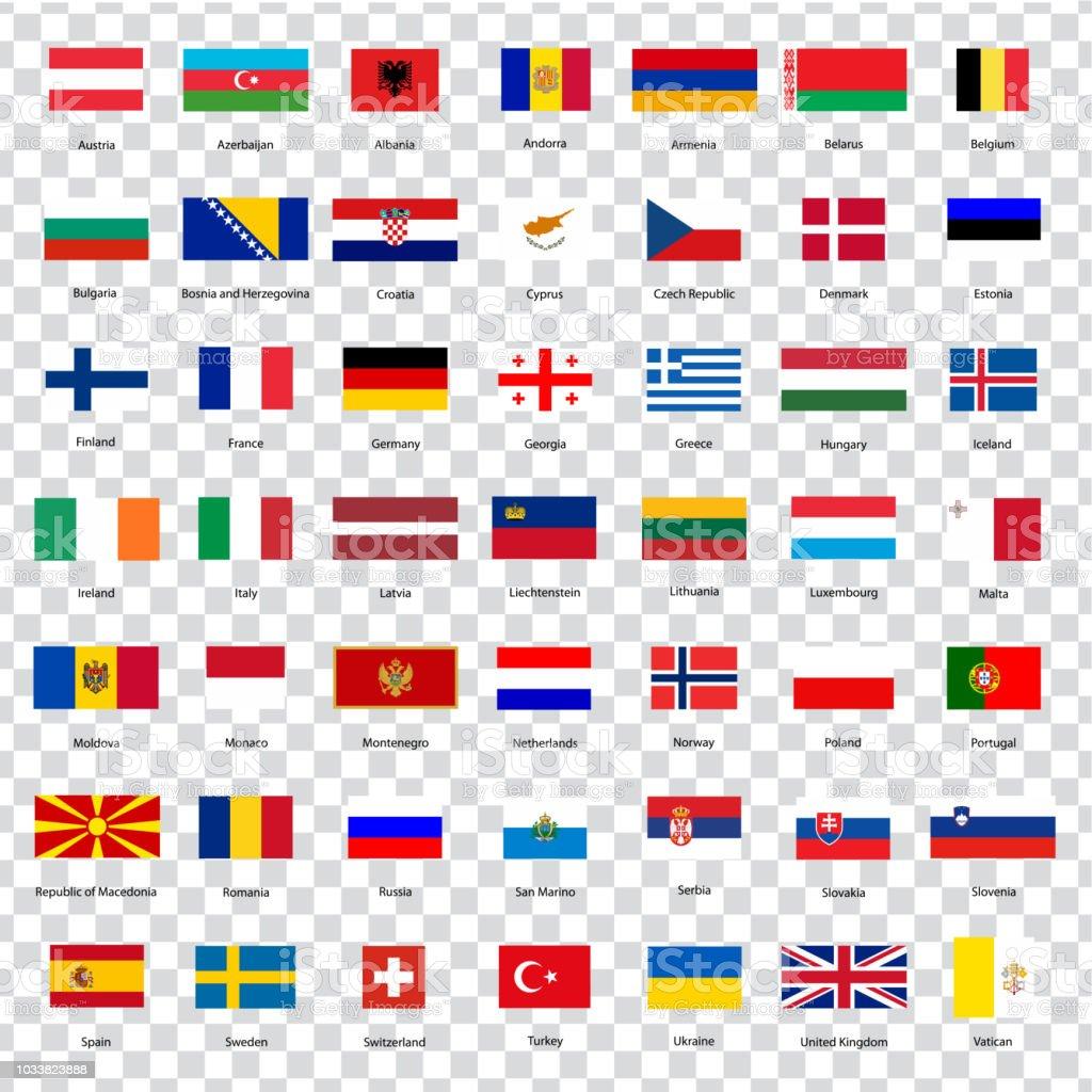 Alle Flaggen der Länder der Europäischen Union. Liste aller Flaggen der europäischen Länder mit Inschriften und ursprünglichen Proportionen auf transparenten Hintergrund. Flaggen für Ihre Website-Design, Logo, app, UI. Vektor-Illustration EPS10. – Vektorgrafik