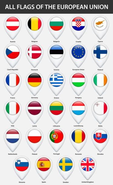 欧州連合の国のすべてのフラグ。マップのピン ポインター光沢のあるスタイルです。 - アイルランドの国旗点のイラスト素材/クリップアート素材/マンガ素材/アイコン素材