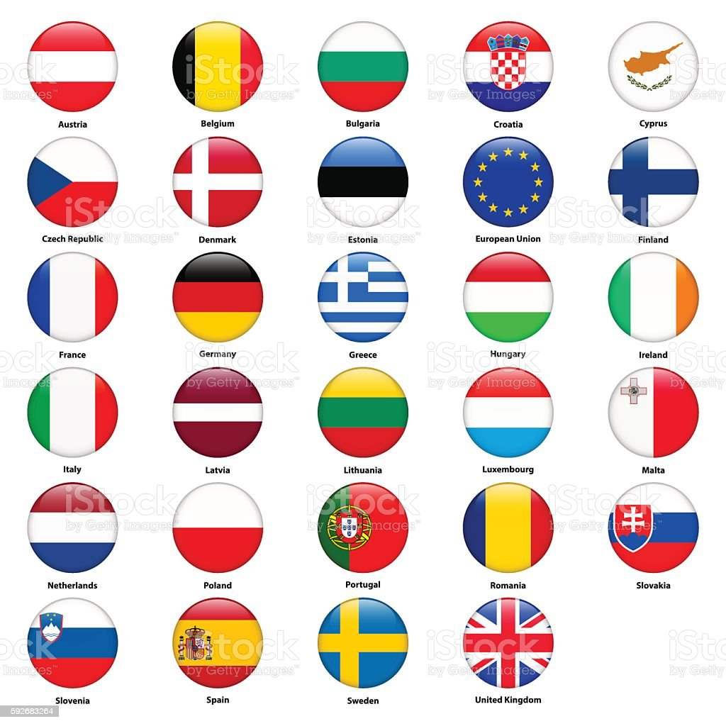 All flags of the countries of the European Union. vector art illustration