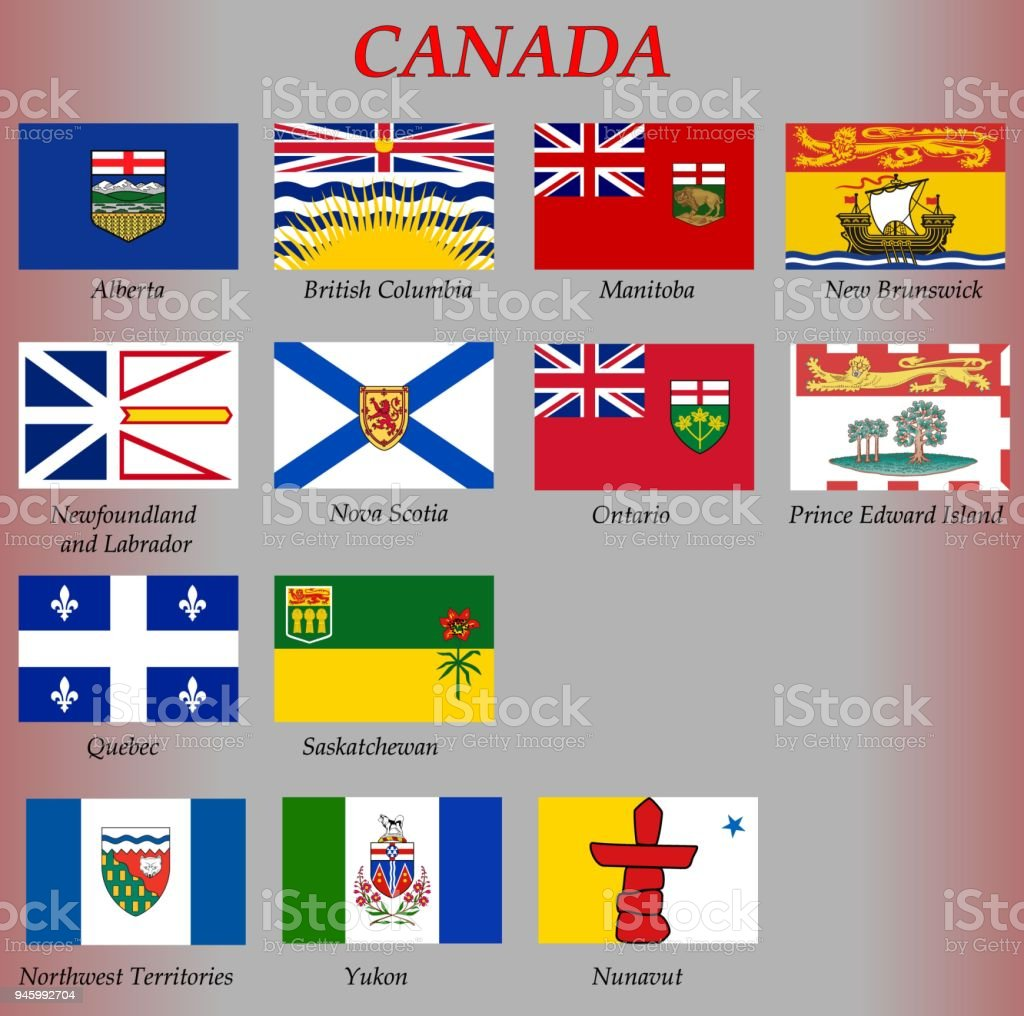 all flags of the Provinces and territories of Canada vector art illustration