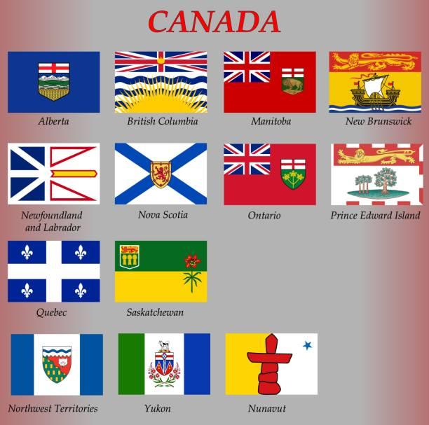 alle flaggen der provinzen und territorien von kanada - flagge kanada stock-grafiken, -clipart, -cartoons und -symbole