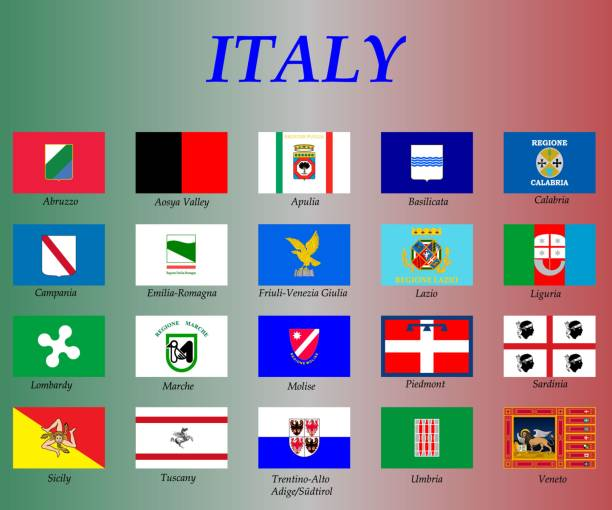 illustrazioni stock, clip art, cartoni animati e icone di tendenza di all flags of the regions of italy, - calabria map