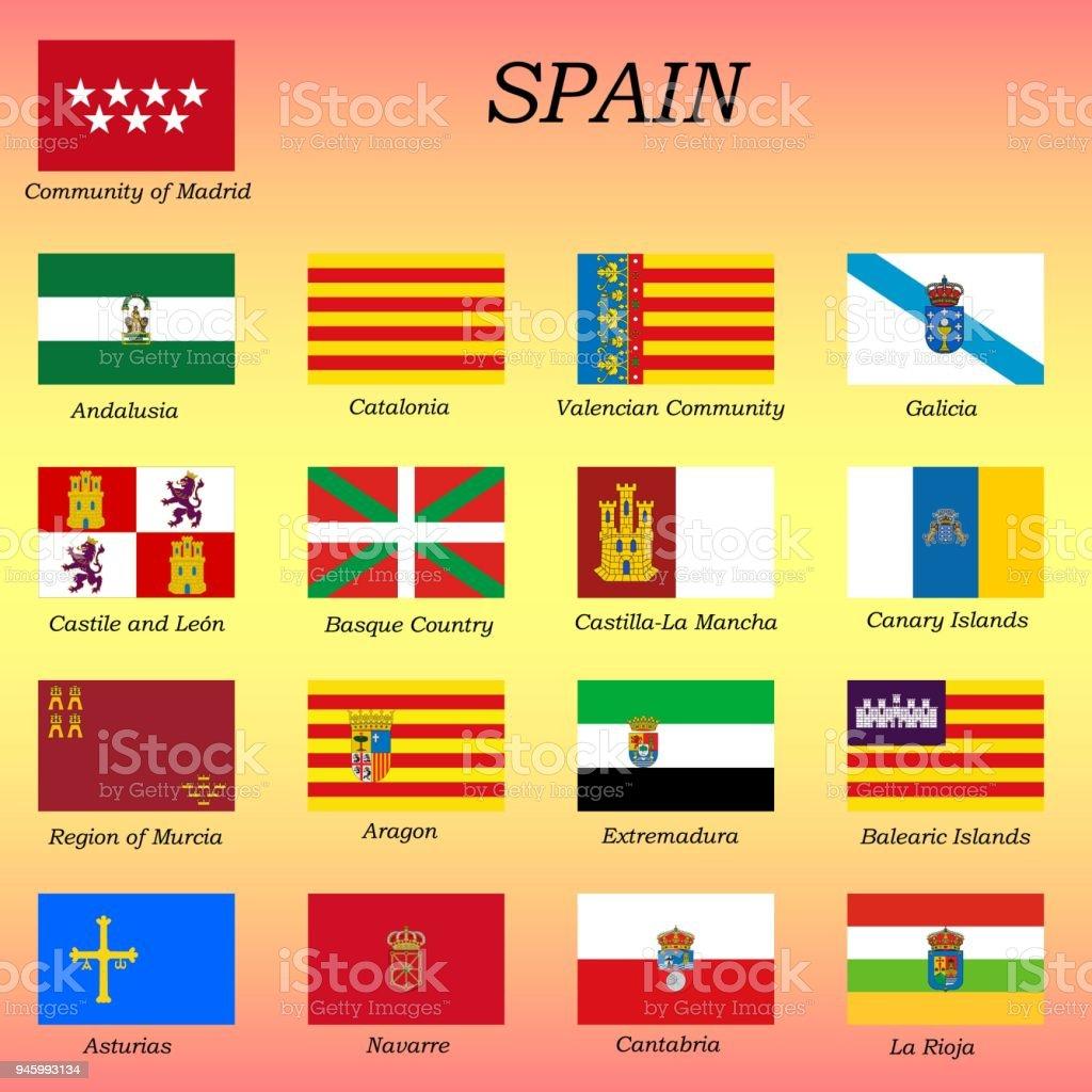 Tous les drapeaux des tats espagnols communaut s autonomes despagne vecteurs libres de droits - Drapeau d espagne a colorier ...