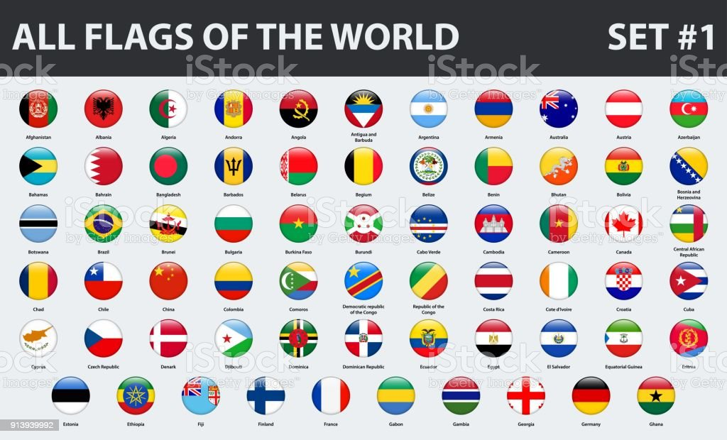All flags of the world in alphabetical order. Round glossy style. Set 1 of 3 - ilustração de arte vetorial