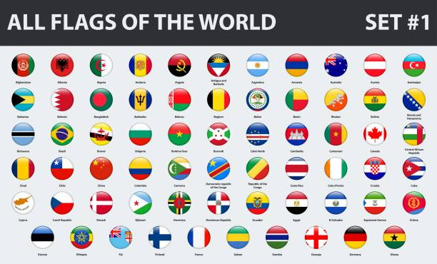 All flags of the world in alphabetical order. Round glossy style. Set 1 of 3 All flags of the world in alphabetical order. Round glossy style. Set 1 of 3 national flag illustrations stock illustrations