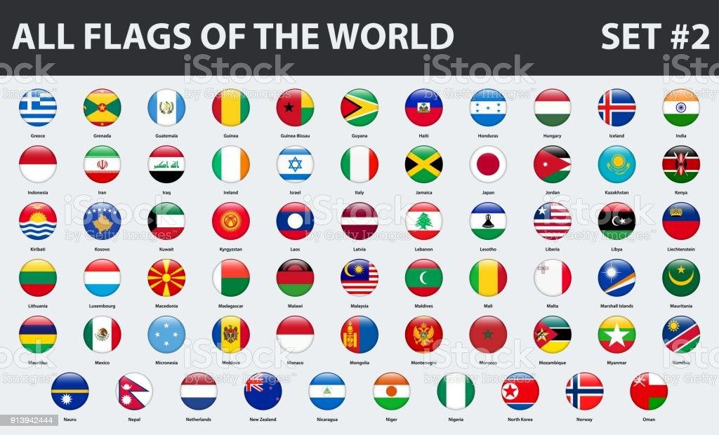 All flags of the world in alphabetical order. Round glossy style. Set 2 of 3 - ilustração de arte vetorial