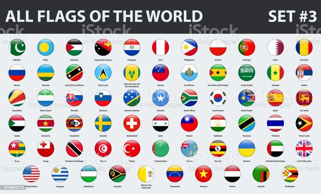 All flags of the world in alphabetical order. Round glossy style. Set 3 of 3 - ilustração de arte vetorial