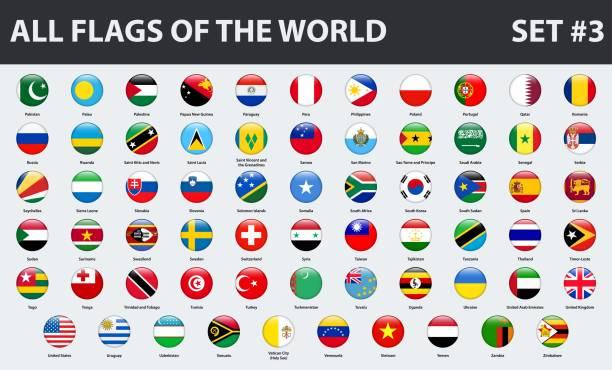 stockillustraties, clipart, cartoons en iconen met alle vlaggen van de wereld in alfabetische volgorde. ronde glanzend stijl. set 3 van 3 - land