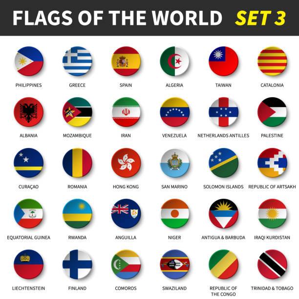 Alle Flaggen der Welt setzen 3. Kreis und konkave design – Vektorgrafik