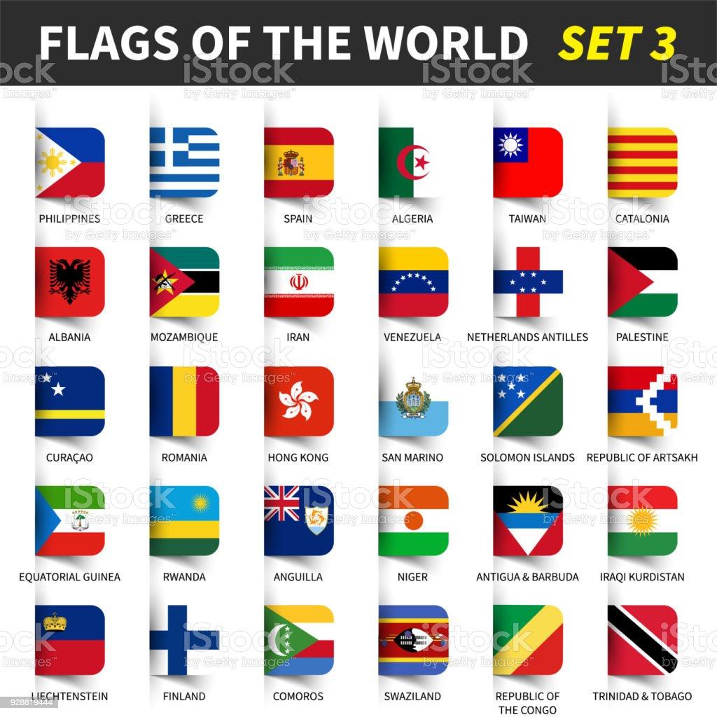 Alle Flaggen der Welt setzen 3. Eingefügt und schwimmende klebrige beachten Sie Design. (3/8) – Vektorgrafik