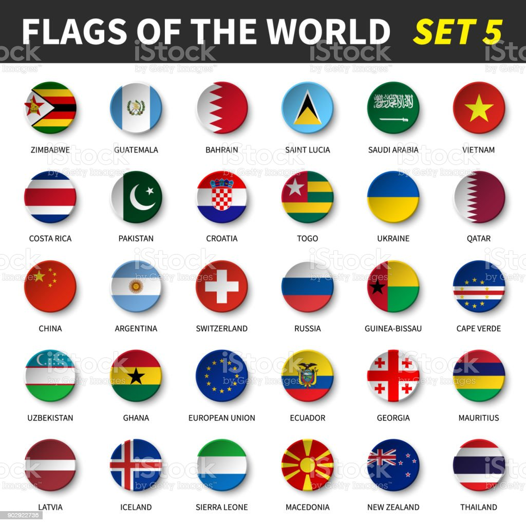All flags of the world set 5 . Circle and concave design vector art illustration