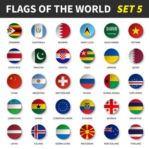 bildbanksillustrationer, clip art samt tecknat material och ikoner med alla flaggor av världen anges 5. cirkel och konkav design - saint lucia