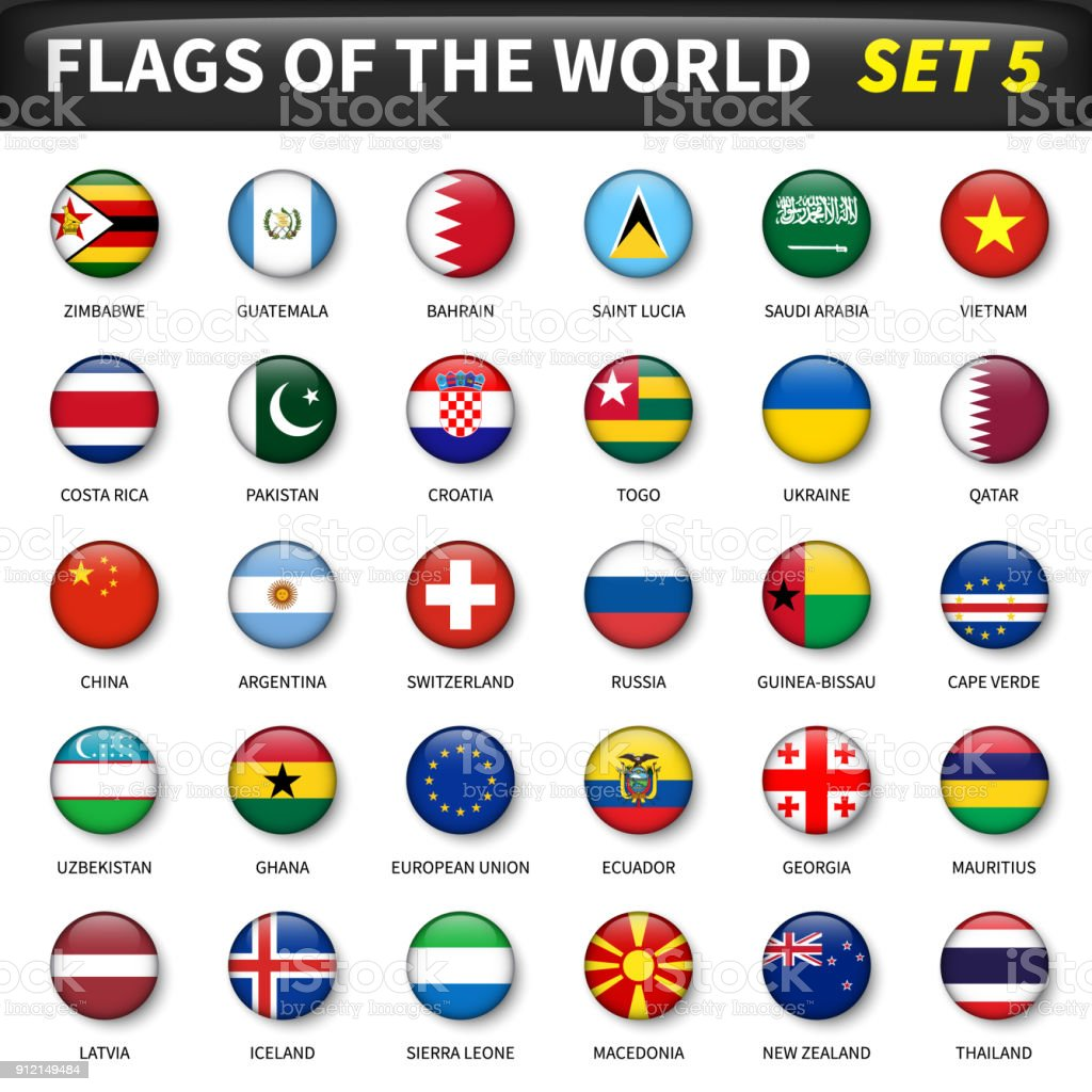 All flags of the world set 5 . Circle and convex design vector art illustration