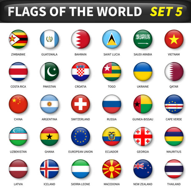 all flags of the world set 5 . circle and convex design - macedonia country stock illustrations, clip art, cartoons, & icons