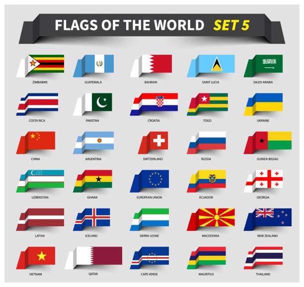 世界のすべてのフラグは、5 を設定します。手を振っているリボン スタイル - ロシアの国旗点のイラスト素材/クリップアート素材/マンガ素材/アイコン素材