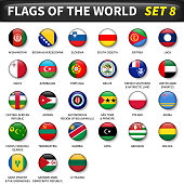 All flags of the world set 8 . Circle and convex design
