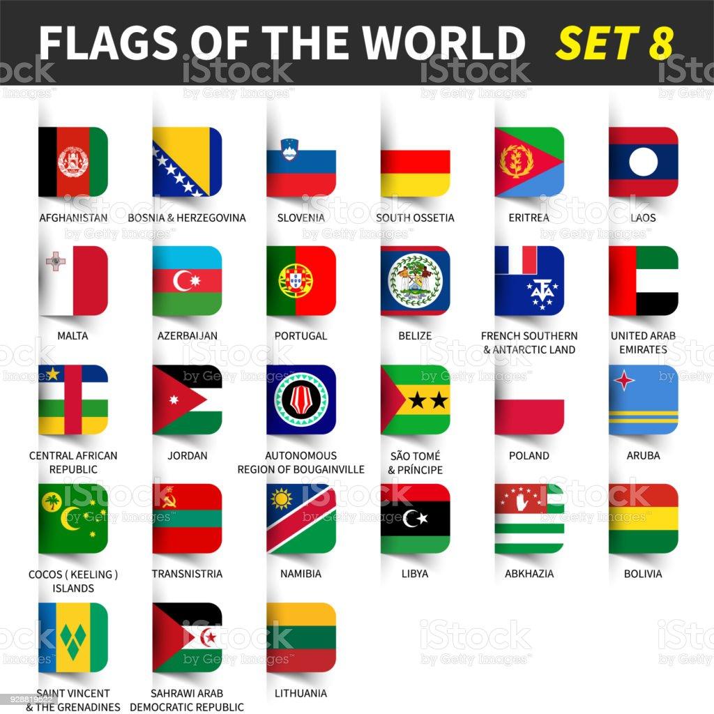 All flags of the world set 8 . Inserted and floating sticky note design . ( 8/8 ) - ilustração de arte vetorial