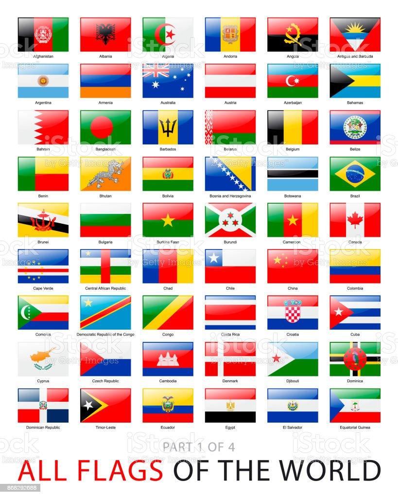 Todas las banderas del mundo. Colección de vector - ilustración de arte vectorial