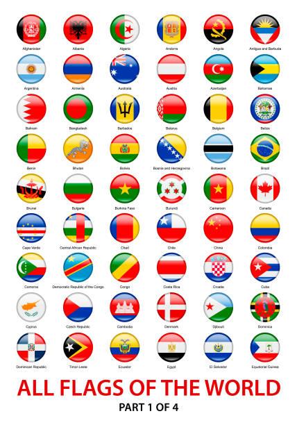 世界上所有的旗幟。向量圓形圖示集合 - 阿爾及利亞 幅插畫檔、美工圖案、卡通及圖標