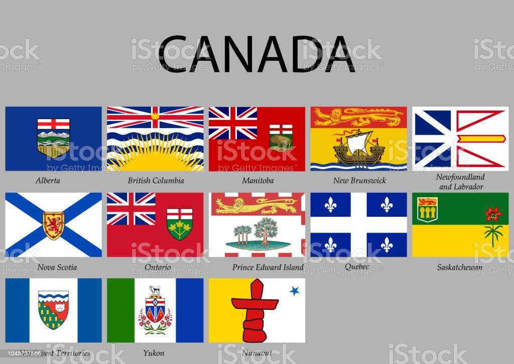 Alle Flaggen Provinzen von Kanada. – Vektorgrafik