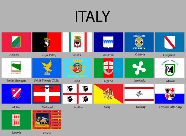 illustrazioni stock, clip art, cartoni animati e icone di tendenza di all flags provinces of italy - calabria map