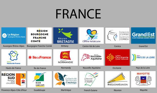 illustrations, cliparts, dessins animés et icônes de toutes les régions de drapeaux de la france. - bretagne