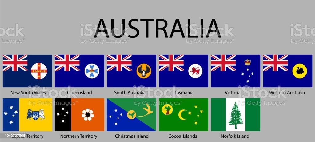 all Flags states of Australia vector art illustration