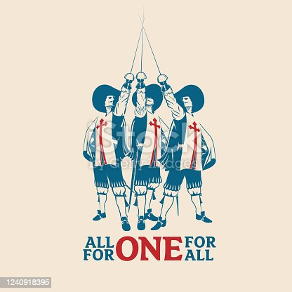 All For One For All vector illustration for commercial use