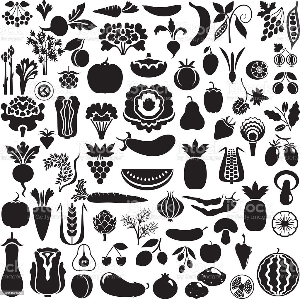 All fruits and vegetables vector art illustration