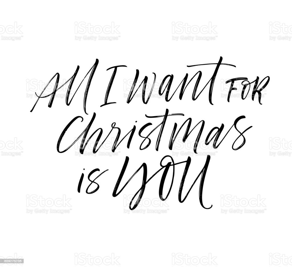 All I Want For Christmas Is You Card Holiday Lettering Stock Vector ...