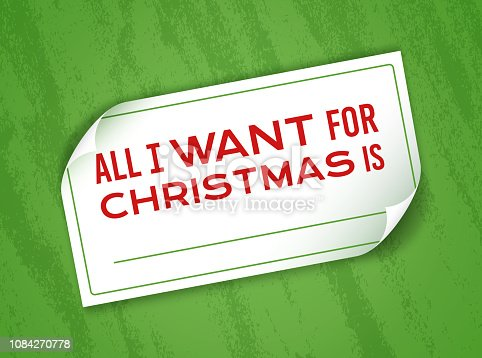 All I want for Christmas note with space for copy.