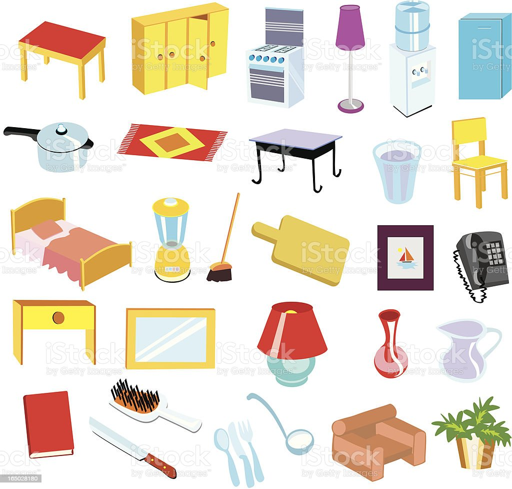 All in one home objects royalty-free stock vector art