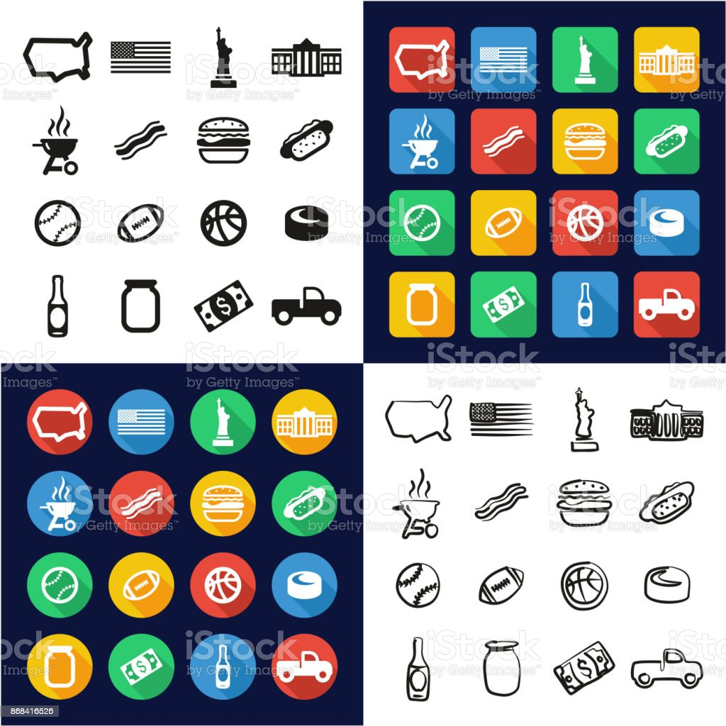 USA All in One Icons Black & White Color Flat Design Freehand Set vector art illustration