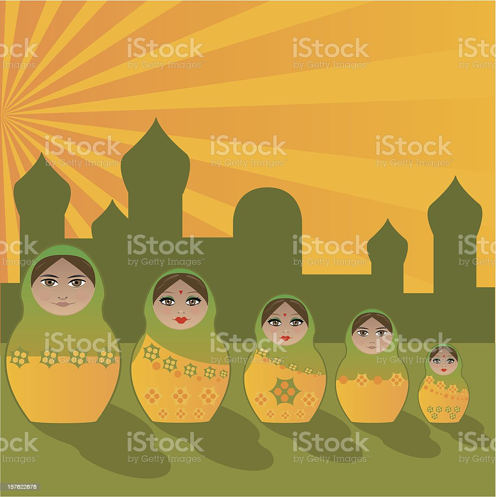 All in one - Matrioska Family India style royalty-free stock vector art