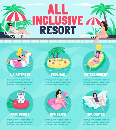 All inclusive resort flat color vector informational infographic template. Poster, booklet, PPT page concept design with cartoon characters. Advertising flyer, leaflet, info banner idea