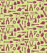 Vector illustration of seamless pattern with all kinds of different tools, such as scissor, plier, shovel, axe, hammer, computer mouse, fork, brush, etc.