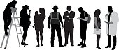 A vector silhouette illustration of people in several human and career roles inlcuing a doctor, business women, student, business man, construction worker, mother and child, guitarist, and man on a ladder.