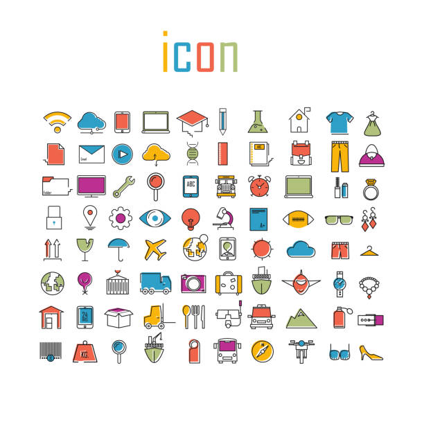 Todo color de los iconos de línea de tecnología escuela logística internet tour planificación y moda iconos infografía moderna vector logotipo - ilustración de arte vectorial
