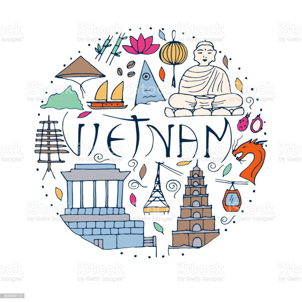 All Main Attractions And Symbols Of Vietnam Country Stock Vector Art
