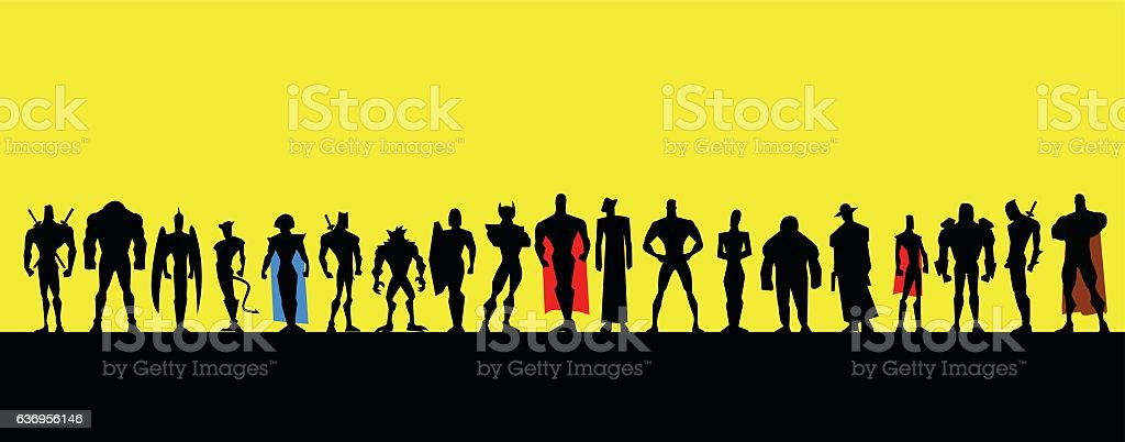 All Male Superheroes Silhouette vector art illustration